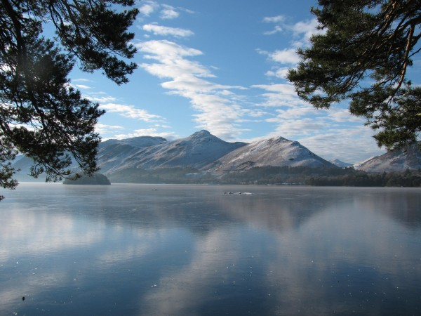 Catbells across a frozen Lake