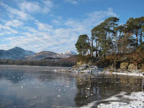 Friars crag in ice
